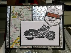 One Wild Ride- Used map pages from my old HOG maps .love the little Harley Shop emblems to add authenticity to the card Masculine Birthday Cards, Birthday Cards For Men, Masculine Cards, Horse Cards, Stampin Up Cards, Men's Cards, Shabby Chic Cards, Biker, Fathers Day Cards