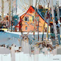"""'Shades of Blue' by Josef Kote Urban Landscape, Abstract Landscape, Landscape Paintings, Abstract Art, Painting Inspiration, Watercolor Art, Street Art, Art Gallery, Illustration Art"