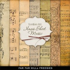 Freebies Kit of Old Christmas Music Sheet:Far Far Hill - Free database of digital illustrations and papers