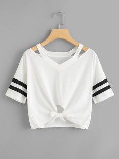 Shop Cut Out Neck Varsity Striped Knot Front Tee online. SHEIN offers Cut Out Neck Varsity Striped Knot Front Tee & more to fit your fashionable needs. Teen Fashion Outfits, Trendy Outfits, Girl Outfits, Ootd Fashion, T Shirt Fashion, Fashion Black, Fashion Clothes, Fashion Ideas, Fashion Dresses