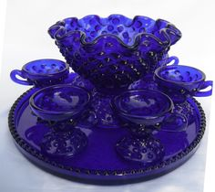 Fenton punch bowl and 4 cup set with tray. antique