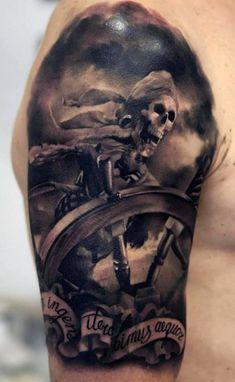 Guy's Pirate Tattoos Designs Half Sleeve
