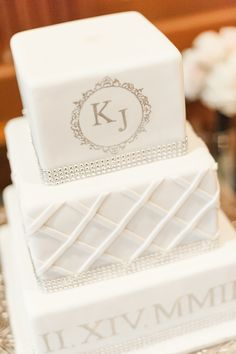 Three tier square white wedding cake with Roman numerals and rhinestones | Leslie Ann Photography | villasiena.cc
