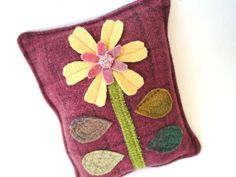 Daisy Mini Pillow Wine Wool Hand Dyed by rusticpatriotgirl on Etsy, $19.50