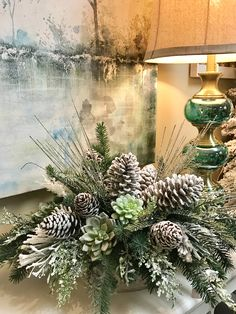 Holiday Succulent look great w/pine cones. Winter Floral Arrangements, Christmas Flower Arrangements, Holiday Centerpieces, Christmas Flowers, Christmas Tablescapes, Xmas Decorations, Christmas Wreaths, Rustic Christmas, Christmas Home