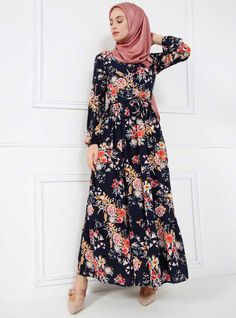 Navy Blue - Floral - Crew neck - Fully Lined - Dress - Refka Navy #Hijab #HijabStyle #Muslimah