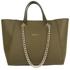 Guess Nikki Chain Tote Olive in green, Handle Bags (7,165 DOP) ❤ liked on Polyvore featuring bags, handbags, tote bags, green, guess handbags, green tote bag, brown tote, faux leather tote bag and vegan leather tote
