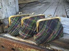 """I'll be stocking my shop soon including these """"Mischevious plaid"""" clasp purses woven from #countessablaze yarn. I have zippered versions too and will post previews today and tomorrow. #marybuttons#etsy #etsyshop#handwoven  #handdyed #handmade #yarn#pursesandbags @craftsposure #craftsposure"""