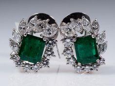 Aktuell in den #Catawiki-Auktionen: Ohrclips mit Smaragden und Diamanten mit IGI Expertise / 750 Weissgold ca. 2,5...