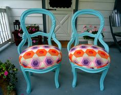 Pair of Antique Victorian Balloon Back Chairs -Upcycled in Turquoise & Bright Hexagons (Pinks, Violets, Reds,   Oranges). $375.00, via Etsy....cool idea...not quite the look, but heading there.