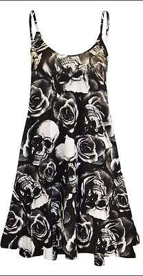Women Sleeveless Plain Long Cami Strappy Ladies Camisole Swing Dress top 8-26