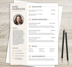 Resume Template With Photo | Photo Resume | CV Template For Word | 1, 2 And  3 Page Resume Download | Professional Resume Template