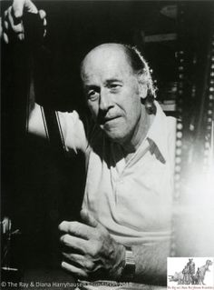 Ray Harryhausen whilst working on Clash of the Titans, c.1979-80.