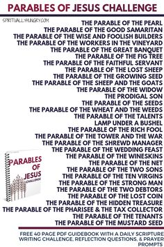 Free PDF parables of Jesus Challenge guidebook with daily worksheets that are comprised of daily Scripture, reflection questions, and prayer prompts. Daily Scripture, Scripture Study, Bible Scriptures, Bible Quotes, Scripture Reading, Jesus Quotes, Ministry Jobs, Kids Ministry, Parables Of Jesus