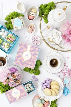 Product styling and commercial photography by Shay Cochrane for luxury candy boutique Sugarfina.  Spring 2016 Collection.  Tea time. Garden Party. Food styling. Food flatlay. Flatlay styling.
