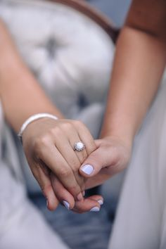 Moonstone engagement ring, silver, antique design, lavender nails // Agha Photos