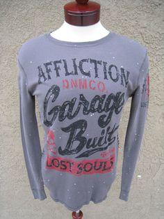 AFFLICTION Thermal Shirt Men's Grey Garage Studs Skull Lost Souls sz S NEW
