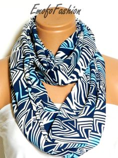Scarf, Scarves, Chevron, Blue Scarf, White Scarf, Accessory, Accessories, Fabric Scarf, Summer Scarf $22.00