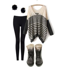 oversized sweater, leggings, and combat boots