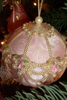 Pink Victorian Christmas Ornament by maorlando-God sustained me 2011 walking w… Victorian Christmas Ornaments, Shabby Chic Christmas, Noel Christmas, Pink Christmas, Christmas Baubles, Beautiful Christmas, Vintage Christmas, Christmas Crafts, Christmas Mantels