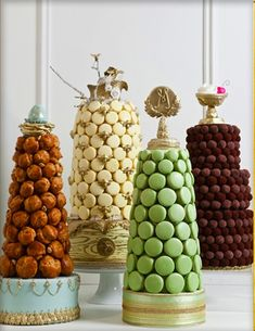 confection towers - macaron, truffle and croquembouche by cake opera co. Croquembouche, Beautiful Cakes, Amazing Cakes, Macaroon Cake, Macaron Tower, Bolo Cake, Cakepops, Celebration Cakes, Dessert Table
