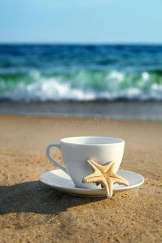 Photo about White cup with tea or coffee on sand beach front of sea, close up. Image of salt, morning, coffee - 56906207 Coffee Gif, Coffee Humor, Coffee Is Life, Coffee Love, Collagen Coffee, Good Morning Beautiful People, Premium Coffee, Good Morning Coffee, Brown Coffee