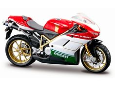Ducati 1098S Diecast Model Motorcycle by Maisto 07024W This Ducati 1098S Diecast Model Motorcycle is Red, White and Green and features working wheels. It is made by Maisto and is 1:18 scale (approx. 11cm / 4.3in long).  #Maisto #ModelMotorbike #Ducati