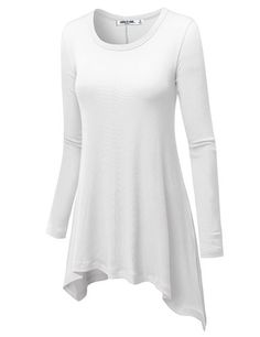 5d230410d3ab32 LL Womens Round Neck Long Sleeve Rib Trapeze Tunic Top XXL WHITE  From this  long-sleeved tee s ribbed knit fabrication to its comfy trapeze silhouette