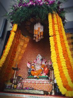 Flower Decoration For Ganpati, Flower Decorations, Ganesh Utsav, Ganesh Idol, Decor Crafts, Home Decor, Birthday, Flowers, Photography