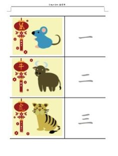 These FREE worksheets can be used in different activities, such as:  Make small book Put the Zodiac animals in order Trace the Chinese number characters