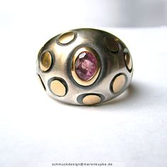 Pinksaphir 900 Gold massiver Ring 925 Silber