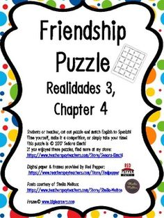 Cut apart the puzzle and have students match up English-Spanish vocabulary for a fun and quick review! Students may want to compete to finish the puzzle, take their time, or complete the puzzle in stations. I sometimes send these puzzles home as well so that students can cut them apart and do them at home for Spanish Vocabulary Games, Friendship, Puzzles, Students, English, Fun, Learning English, Cut Outs, Studio