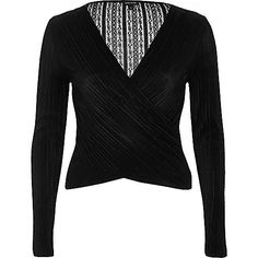 Black pleated lace wrap top - going out - sale - women