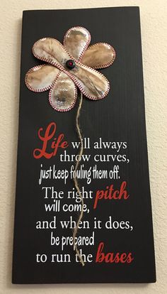 Life Will Always Throw Curves BASEBALL FLOWER by NARSCH on Etsy