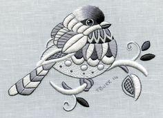 Chickadee whitework embroidery by Trish Burr Crewel Embroidery, Hand Embroidery Patterns, Embroidery Kits, Ribbon Embroidery, Cross Stitch Patterns, Machine Embroidery, Embroidery Designs, Bordado Jacobean, Marie Suarez