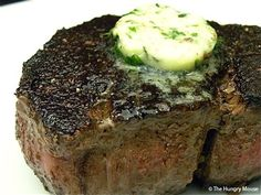 buttered filet mignon. food
