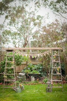 Two extra tall vintage wooden ladders/vintage extension timber ladder/bunting/jute covered mason jars/ backdrop/ wedding/ all available for hire at mysweeteventhire . Wedding Wreaths, Diy Wedding, Rustic Wedding, Wedding Ideas, Wedding Outside, Wooden Stairs, Wooden Ladders, Ladder Wedding, Boho Garden Party