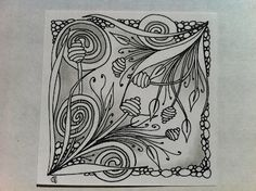 Sprout The Right Brained Bean: Many Irons in the Fire, Zendala Dare and Diva Challenge Doodles Zentangles, Tangle Doodle, Tangle Art, Zentangle Drawings, Zen Doodle, Zentangle Patterns, Doodle Art, Art Drawings, Tangled Flower