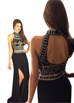 LISA.MOON Women's High Neck Open Back High Split Crystals Two Piece Prom Dress Black US08. 1.Chiffon ,Crystals,Rhinestone. 2.High Neck,Sleeveless,Back Hole,High Split,A Line,Two Piece,Floor Length,,. 3.Made to Order!You can give us your size!(BUST,WAIST,HIP,HOLLOW TO FLOOR)When getting your order,we will contact you to make sure you have chosen the right measurements.If no reply,we will do it as our size.Thank you!. 4.The real color of the item may be different from the pictures shown on...