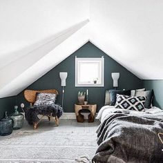 Attic Master Bedroom, Attic Bedroom Designs, Attic Bedrooms, Attic Design, Bedroom Loft, Bedroom Ideas, Attic Bathroom, Attic Bedroom Decor, Bedroom Curtains