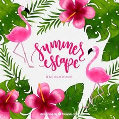 Tropical background with watercolor plants and flamigos Free Vector Foto Flamingo, Pink Flamingo Wallpaper, Summer Wallpaper, Flamingo Birthday, Flamingo Party, Fancy Baby Shower, Wal Paper, Flamingo Painting, Aloha Party