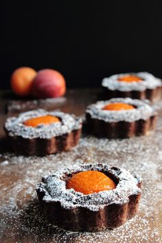 Dark chocolate and apricot tarts