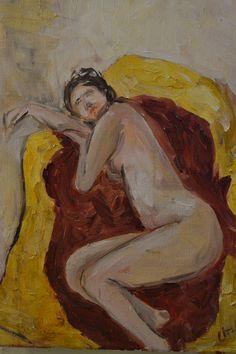 Trabajo académico de 3er año, desnudo, óleo sobre tela, 30x40 cm