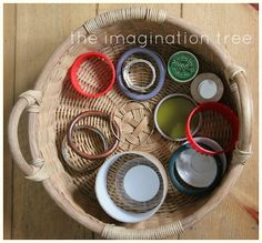 The Imagination Tree: Baby Play: Circles Treasure Basket Baby Sensory Play, Baby Play, Baby Toys, Sensory Wall, Sensory Boards, Best Toddler Toys, Toddler Play, Montessori Toddler, Infant Activities