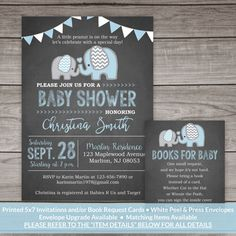 PRINTED Elephant Baby Shower Invitation Boy  by PartyPrintery