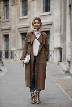 Brown Suede Trench Coat + Rolled up Denim Jeans :; Street.Stylr