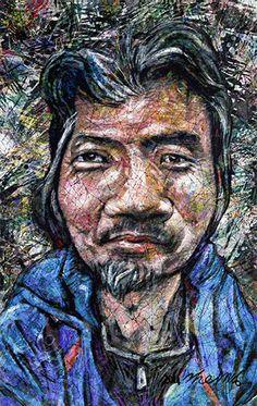 YiPyung Kim 김이평 // 'Portrait of Kim, Se Won' '김세원의 초상' // 67x106cm, Reactive dye, Acid dye, Silk, 2014