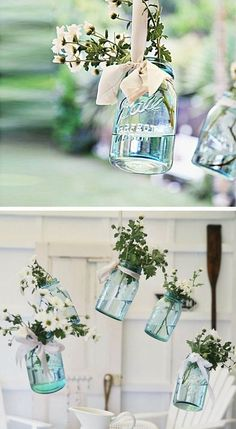 Hanging Vintage Floral Mason Jars   15 DIY Outdoor Wedding Ideas on a Budget