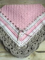 """Crochet Baby Toddler Childs Afhgan Blanket Pink White Grey Handmade 42"""" x 42"""" ...for color inspiration - no pattern"""
