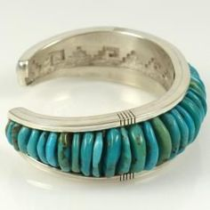 Turquoise and Coral Cobbled Inlay Cuff by Seneca Brosseau - Garland's Indian Jewelry